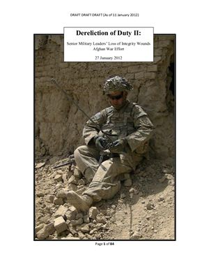 Dereliction of Duty II: Senior Military Leaders' Loss of Integrity Wounds Afghan War Effort