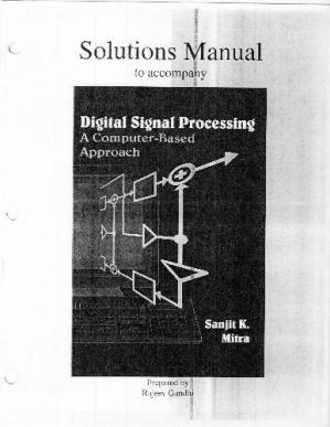Գրքի կազմ Solution Manual to DSP