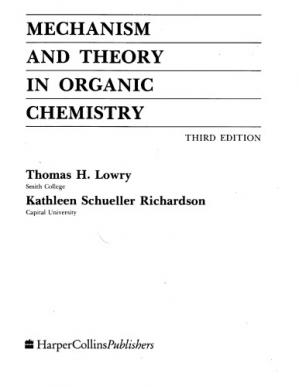 A capa do livro Mechanism and Theory in Organic Chemistry