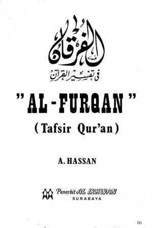 Book cover Al Furqan (Tafsir Qur'an )