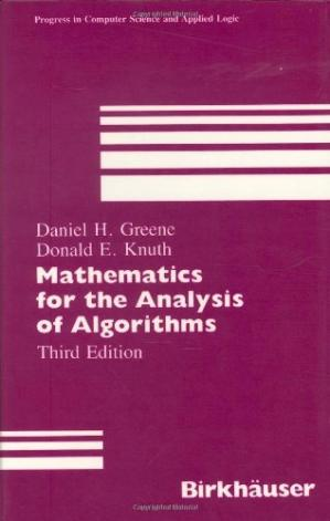 A capa do livro Mathematics for the analysis of algorithms