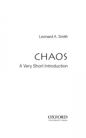 Book cover Chaos. A very short Introduction