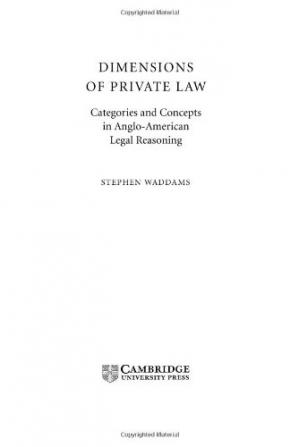Buchdeckel Dimensions of Private Law: Categories and Concepts in Anglo-American Legal Reasoning