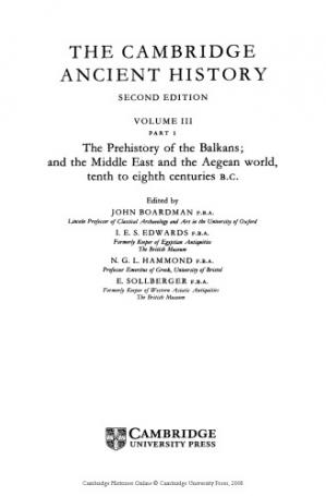 A capa do livro The Cambridge Ancient History, Volume 3, Part 1: The Prehistory of the Balkans, the Middle East and the Aegean world 10th-8th Centuries