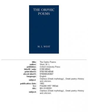 Korice knjige The Orphic Poems (Oxford University Press Academic Monograph Reprints)
