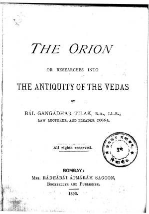 Book cover Orion or The Antiquity of The Vedas