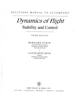 Book cover Solution manual for Dynamics of Flight: Stability and Control
