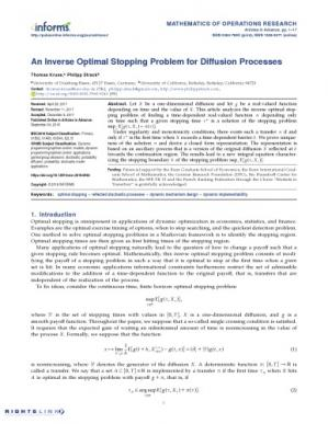Couverture du livre An Inverse Optimal Stopping Problem for Diffusion Processes