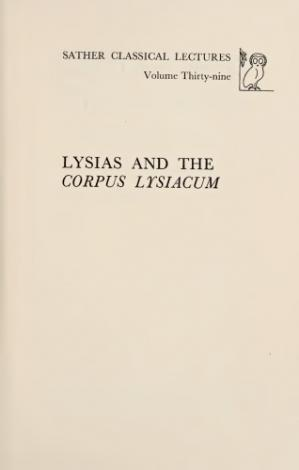 Book cover Lysias and the Corpus Lysiacum