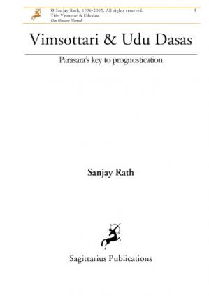 Book cover Vimsottari and Udu Dasa's: Parasara's key to prognostication