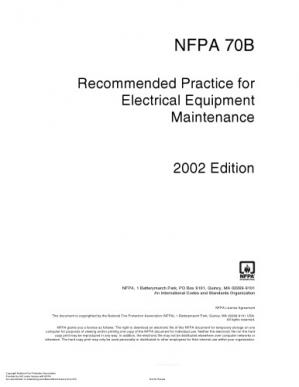 Copertina Nfpa 70B - Recommended Practice For Electrical Equipment Maintenance