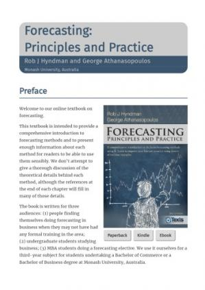 Book cover Forecasting: Principles and Practice