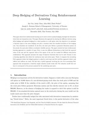 Book cover Deep Hedging of Derivatives Using Reinforcement Learning