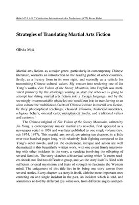 Book cover Strategies of Translating Martial Arts Fiction