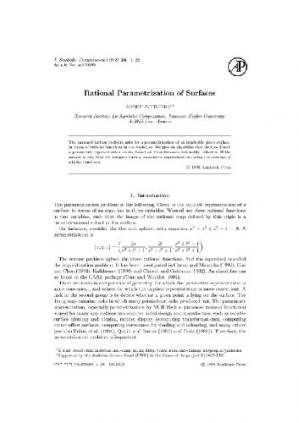 Book cover Rational parametrization of surfaces
