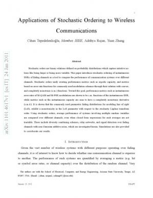 Обкладинка книги [Article] Applications of Stochastic Ordering to Wireless Communications