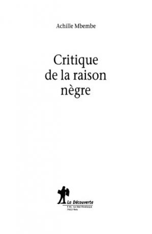 Book cover Critique de la raison nègre