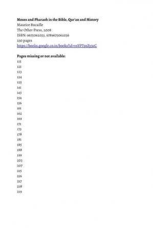 Book cover Moses and Pharaoh in the Bible, Qur'an and History