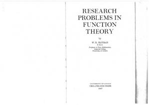 Buchdeckel Research problems in function theory