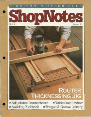 Couverture du livre Woodworking Shopnotes 021 - Router Thicknessing Jig