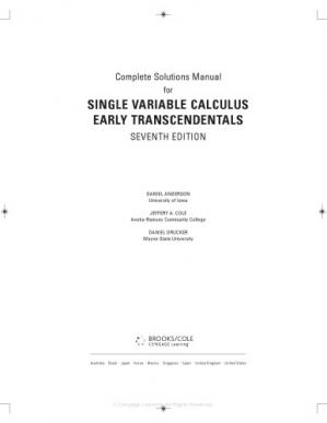 పుస్తక అట్ట Instructor's Solution Manuals to Calculus: Early Transcendentals(Single and Multiple)