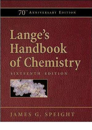 Book cover Lange's Handbook of Chemistry (16th Ed.) - McGraw-Hill
