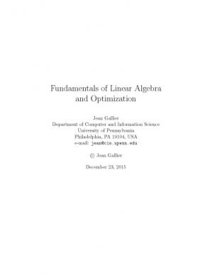Book cover Fundamentals of Linear Algebra and Optimization [Lecture notes]