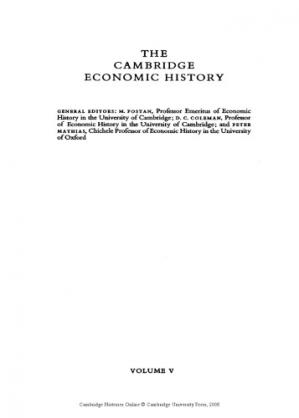 A capa do livro The Cambridge Economic History of Europe from the Decline of the Roman Empire, Volume 5: The Economic Organization of Early Modern Europe