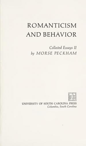 Book cover Romanticism and behavior : collected essays II