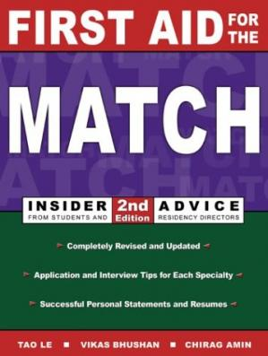 Book cover First Aid for the Match: Insider Advice From Students and Residency Directors