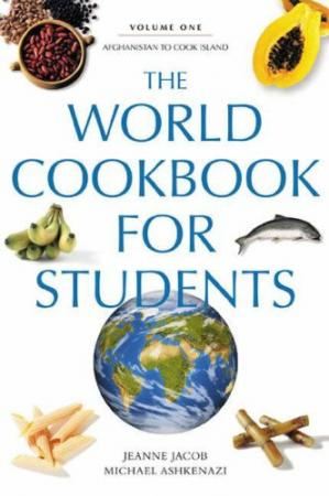 A capa do livro The World Cookbook for Students Five volumes