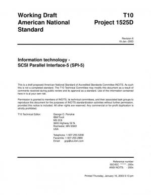 Book cover SCSI Parallel Interface - 5 (SPI-5 r06)
