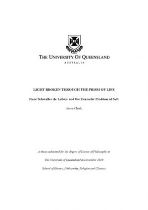 Book cover Light Broken Through the Prism of Life: René Schwaller de Lubicz and the Hermetic Problem of Salt [PhD thesis]