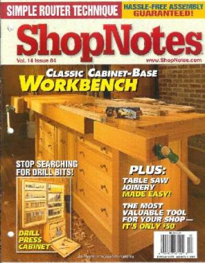 Okładka książki Woodworking Shopnotes 084 - Classic Cabinet Base Workbench