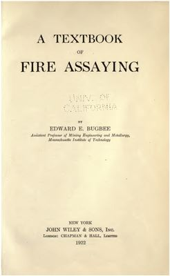 Book cover A Textbook of Fire Assaying
