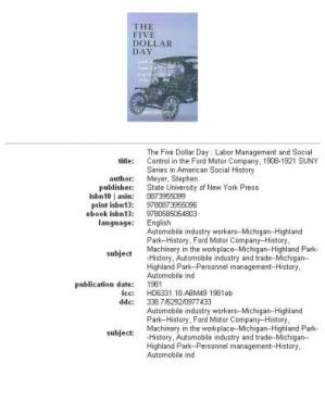 पुस्तक कवर The Five Dollar Day: Labor Management and Social Control in the Ford Motor Company, 1908-1921