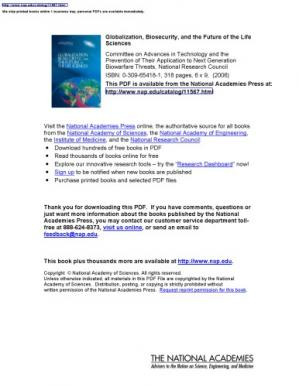 Book cover Globalization, Biosecurity, and the Future of the Life Sciences
