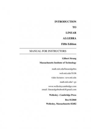 Book cover Solutions' Manual for Introduction to Linear Algebra, Fifth Edition [Fifth Edition]