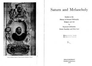 Book cover Saturn and Melancholy: Studies in the History of Natural Philosophy, Religion and Art