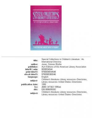 La couverture du livre Special collections in children's literature: an international directory
