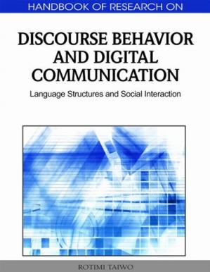 A capa do livro Handbook of Research on Discourse Behavior and Digital Communication: Language Structures and Social Interaction