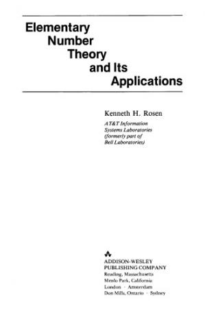 Copertina Elementary number theory and its applications