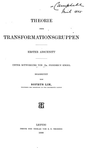 Book cover Theorie der Transformationsgruppen