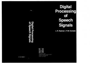 A capa do livro Digital Processing Of Speech Signals