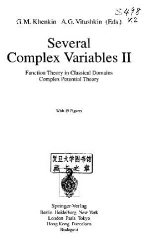 Book cover Several complex variables 02