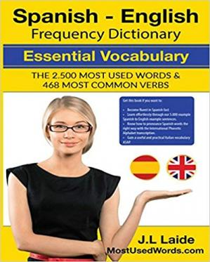 Обкладинка книги Spanish - English Frequency Dictionary - Essential Vocabulary: The 2500 Most Used Words & 468 Most Common Verbs