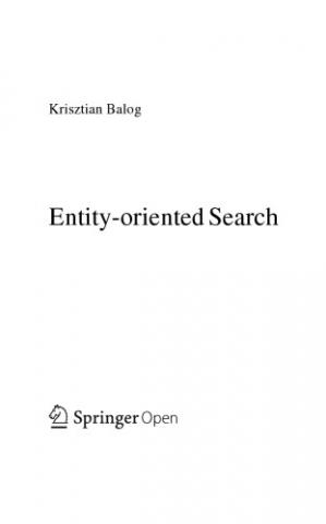 Book cover Entity-oriented Search