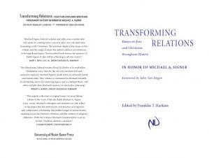 表紙 Transforming Relations: Essays on Jews and Christians throughout History in Honor of Michael A. Signer