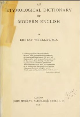 Book cover An Etymological Dictionary of Modern English