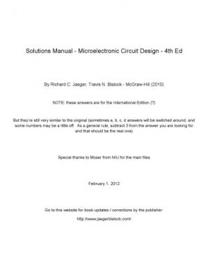 Book cover Solution Manual - Microelectronic Circuit Design - 4th Edition